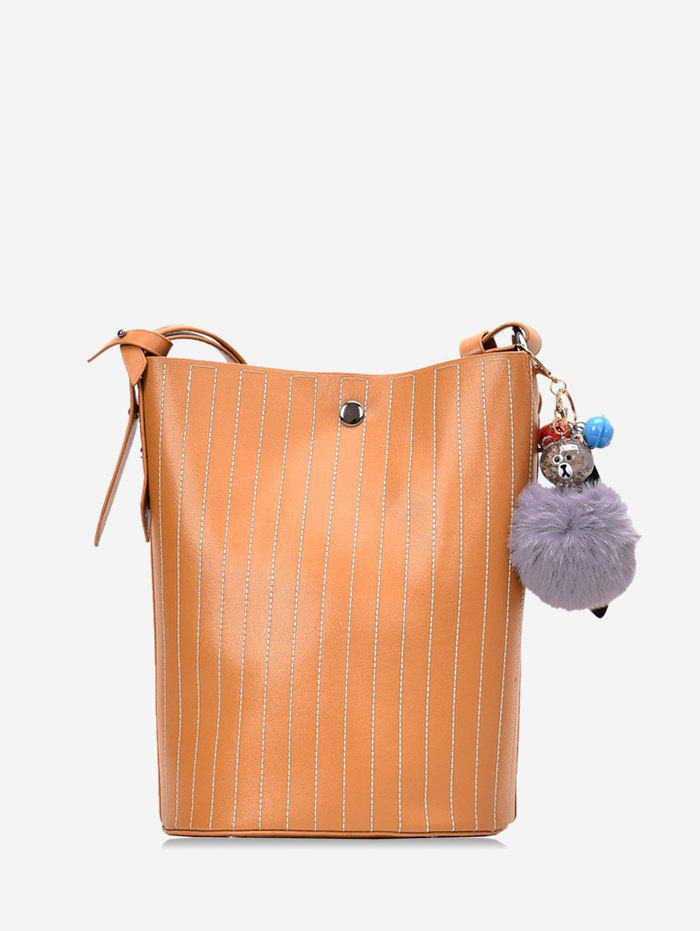 Outfit Pom Pom Vertical Quilted Leather Bucket Bag