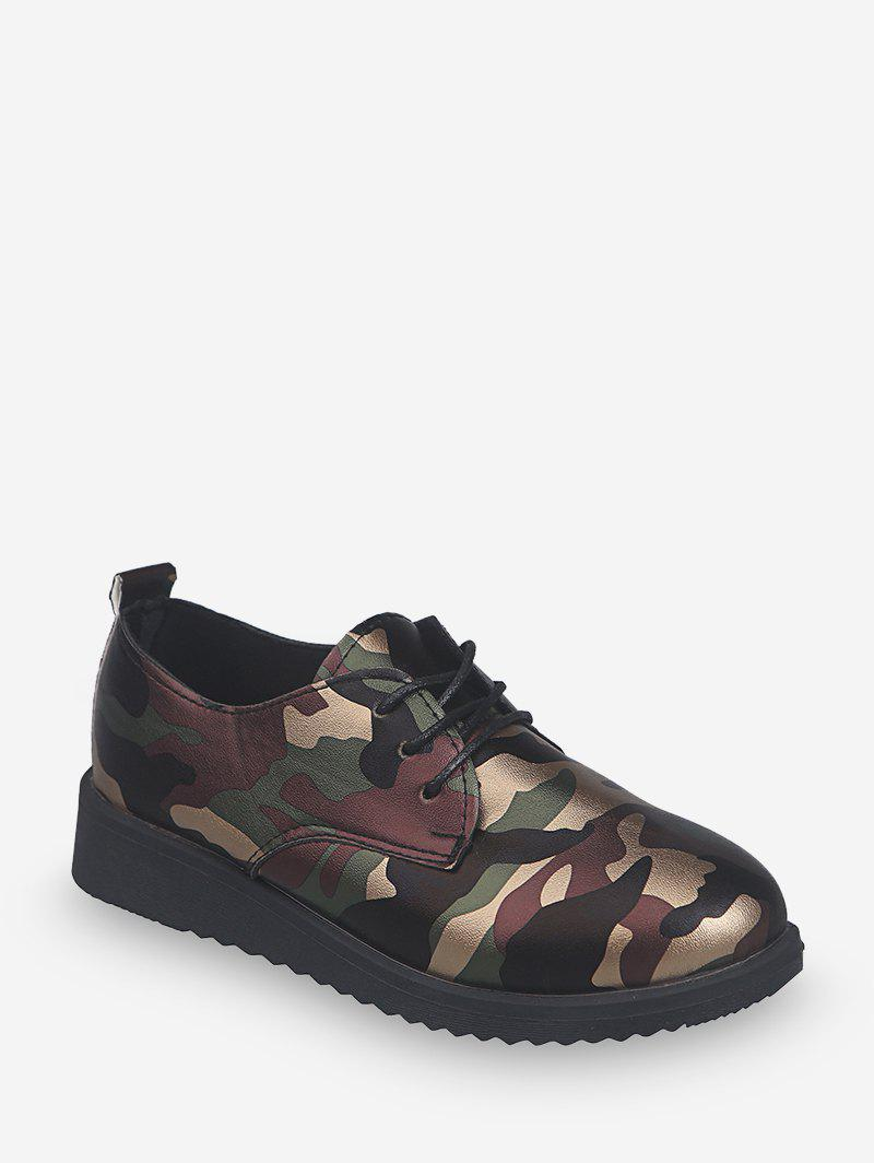 Hot Camouflage Print Leather Lace Up Flat Shoes