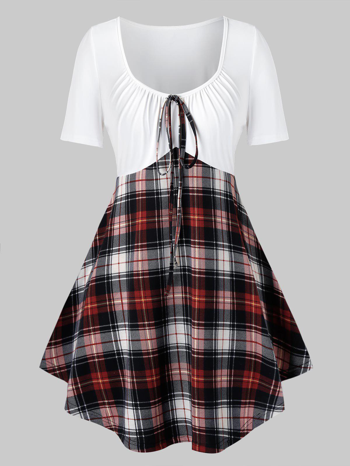 Unique Plus Size Plaid Tie Curved Casual Tunic Tee