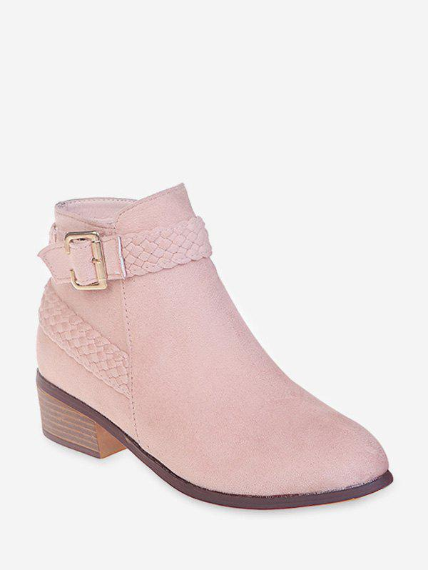 Shop Braided Strap Suede Stacked Heel Ankle Boots