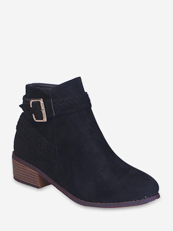 Discount Braided Strap Suede Stacked Heel Ankle Boots