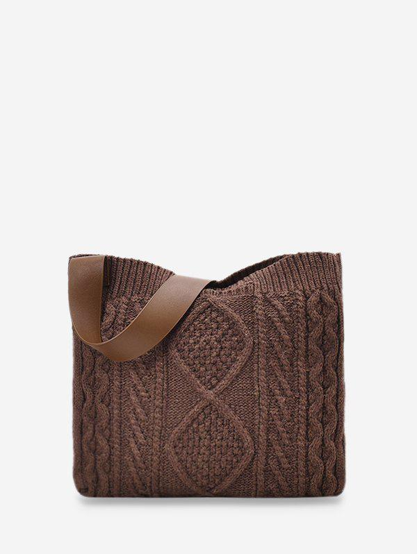 Chic Knitted Wide Strap Crossbody Bag