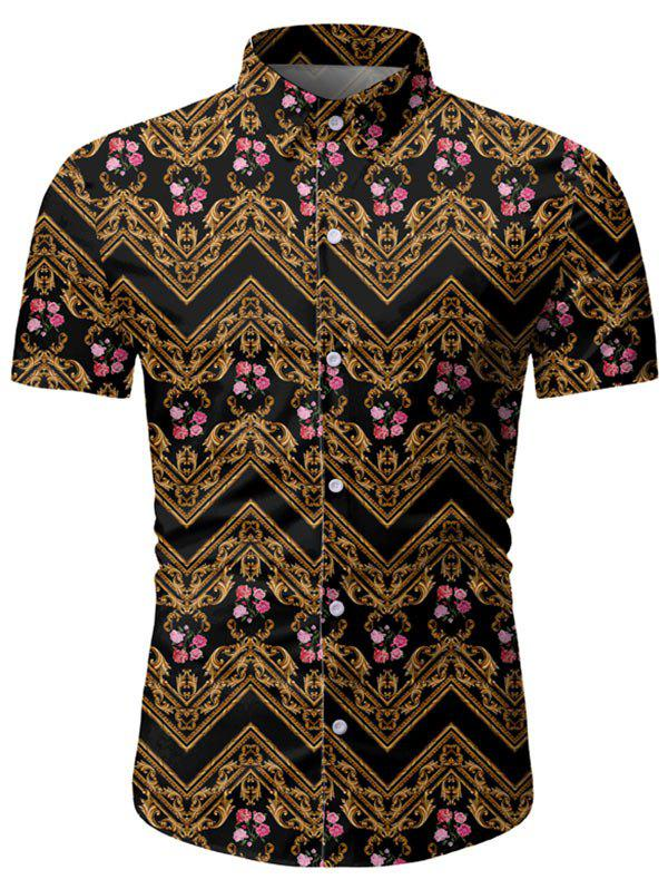 Unique Floral Baroque Pattern Short Sleeves Shirt