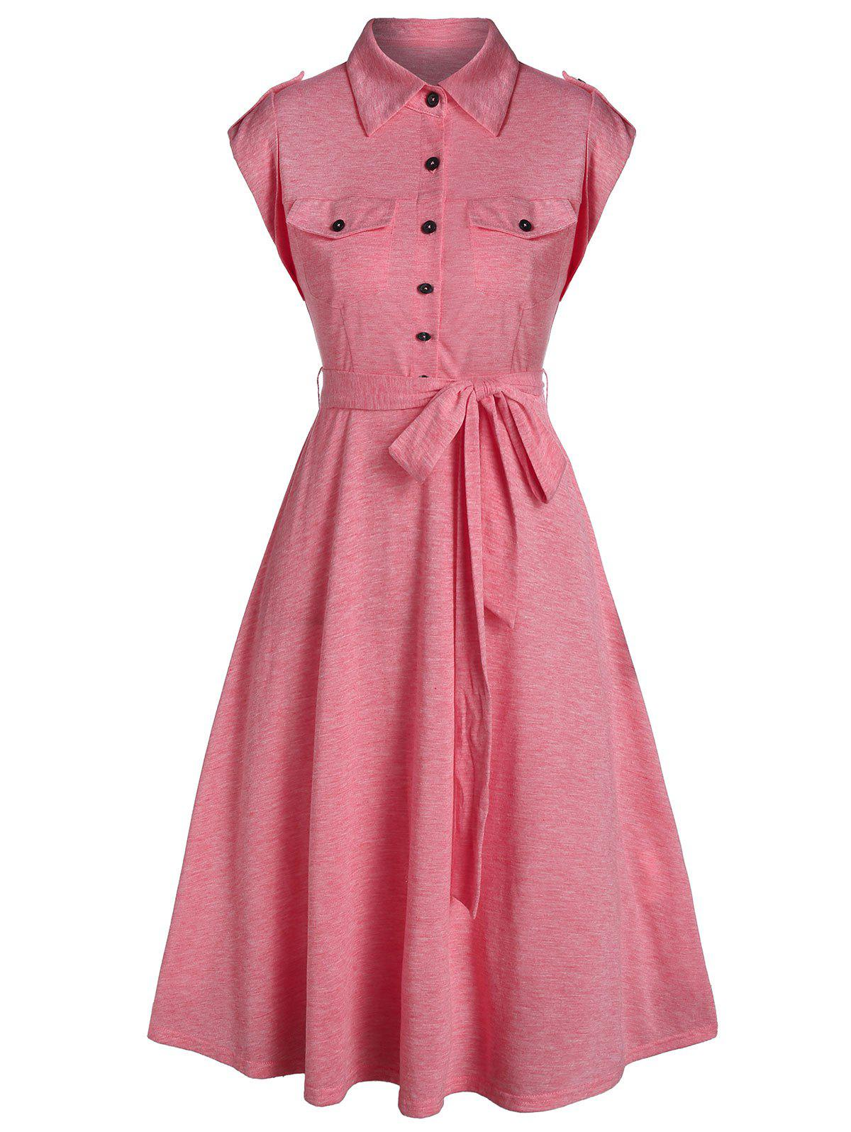 New Double Pockets Half Button Belted Flare Dress