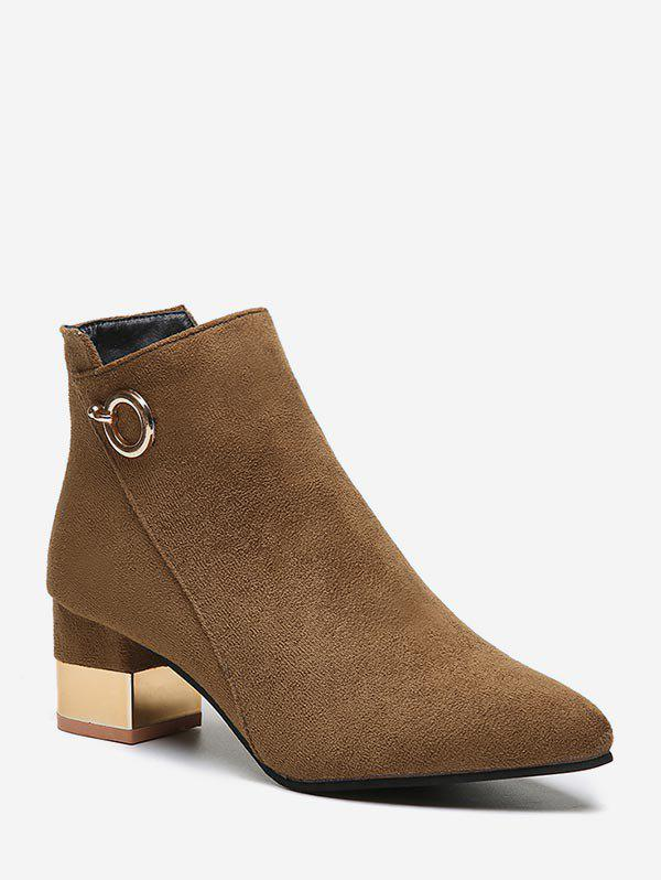 New O-ring Detail Chunky Heel Ankle Boots
