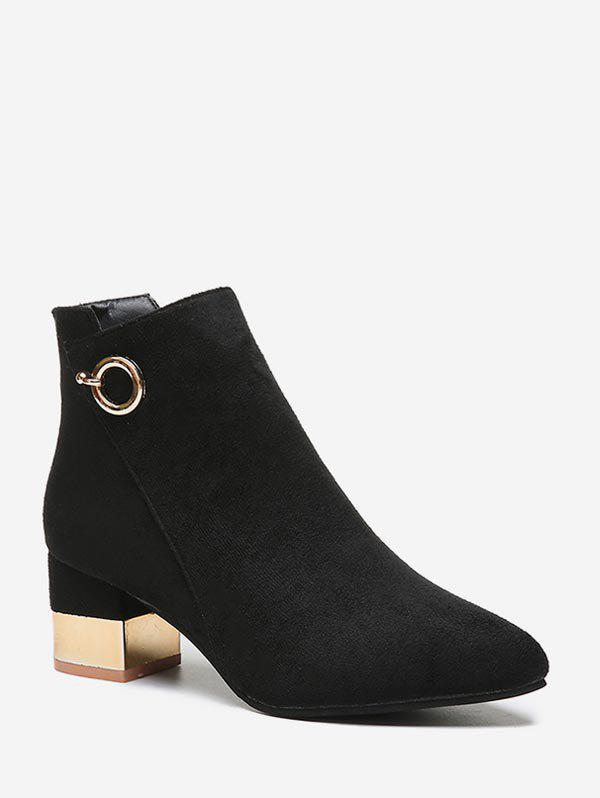 Shops O-ring Detail Chunky Heel Ankle Boots