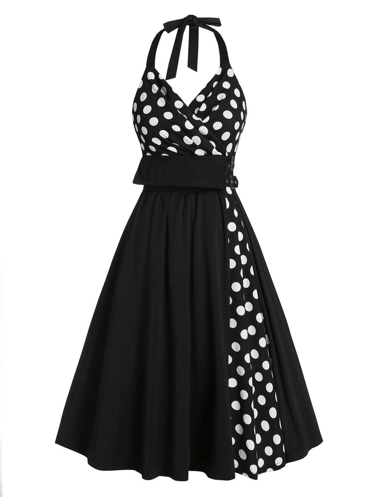 Fancy Polka Dot Print Halter Buckle Strap Vintage Dress