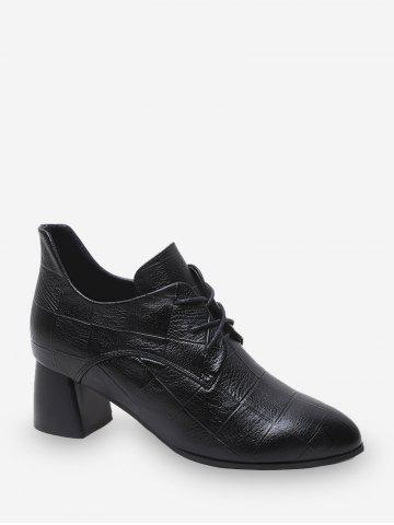 Grid Pattern Lace-up Chunky Heel Ankle Boots - BLACK - EU 37