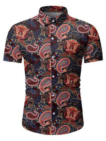 Paisley Leaf Pattern Short Sleeves Shirt
