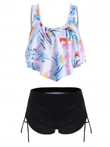 Overlay Flounces Leaves Print Cinched Tankini Swimsuit - BLUE - XL
