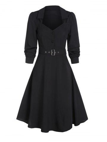 Half Button Vintage Belted Flare Dress