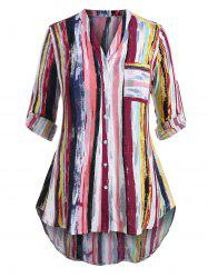 Plus Size Striped Roll Sleeve Tunic Blouse -