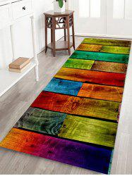 Colorful Wood Board Pattern Water Absorption Area Rug -