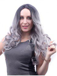 Center Part Long Ombre Body Wave Synthetic Wig -