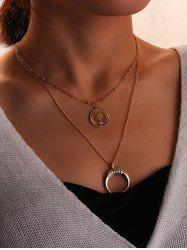 Coin and Crescent Tiered Pendant Necklace -
