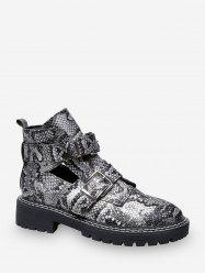 Snake Print Cut Out Leather Ankle Boots -