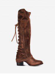 Back Lace Up Mid Heel Leather Knee High Boots -
