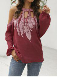 Feather Open Shoulder Keyhole Blouse -