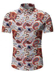 Paisley Leaf Pattern Short Sleeves Shirt -