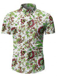 Flower Leaf Pattern Button Short Sleeves Shirt -