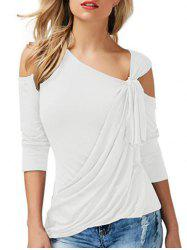 Open Shoulder Draped Front Knotted T-shirt -