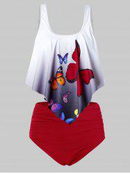 Plus Size Ombre Butterfly Print High Waisted Tankini Swimsuit -
