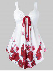 Plus Size Flower Print Tie Curved Tunic Backless Tank Top -