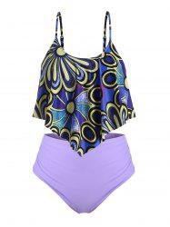 Plus Size Prined Ruched Tankini Swimsuit -
