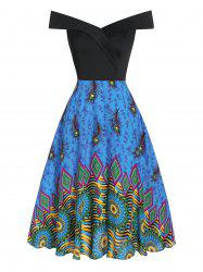 Feather Print Off The Shoulder Flare Dress -