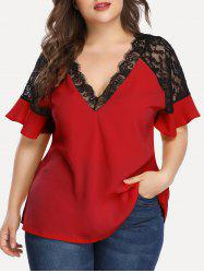 Plus Size Lace Insert Plunging Neck Blouse -