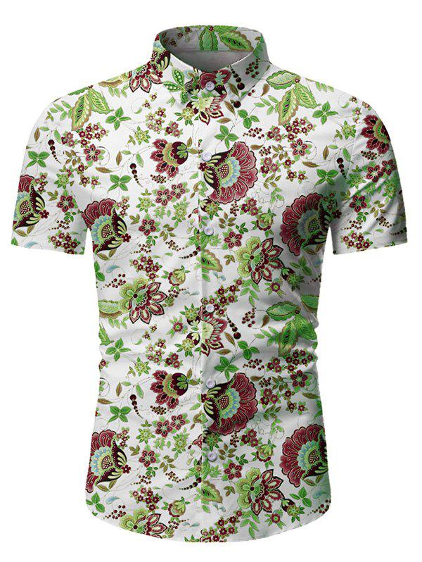 Hot Flower Leaf Pattern Button Short Sleeves Shirt