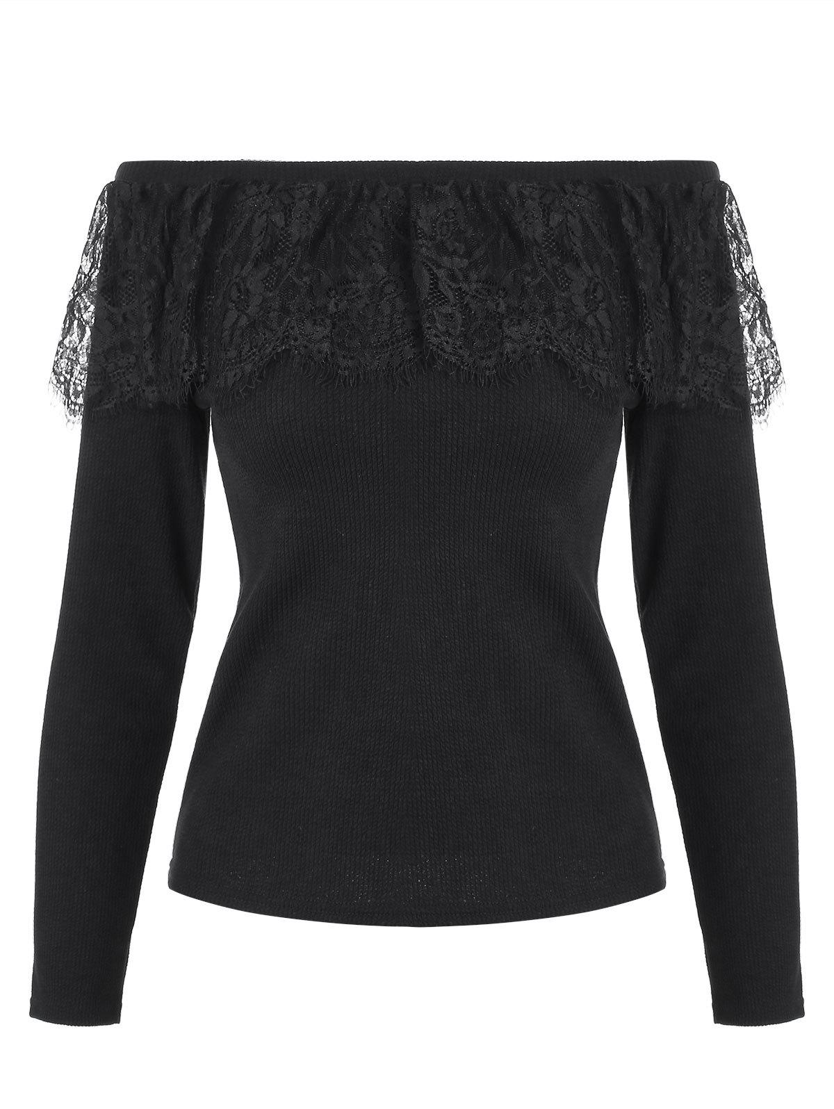 Store Lace Panel Long Sleeves Crop Knitwear