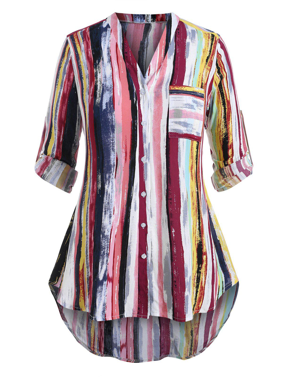 Shop Plus Size Striped Roll Sleeve Tunic Blouse