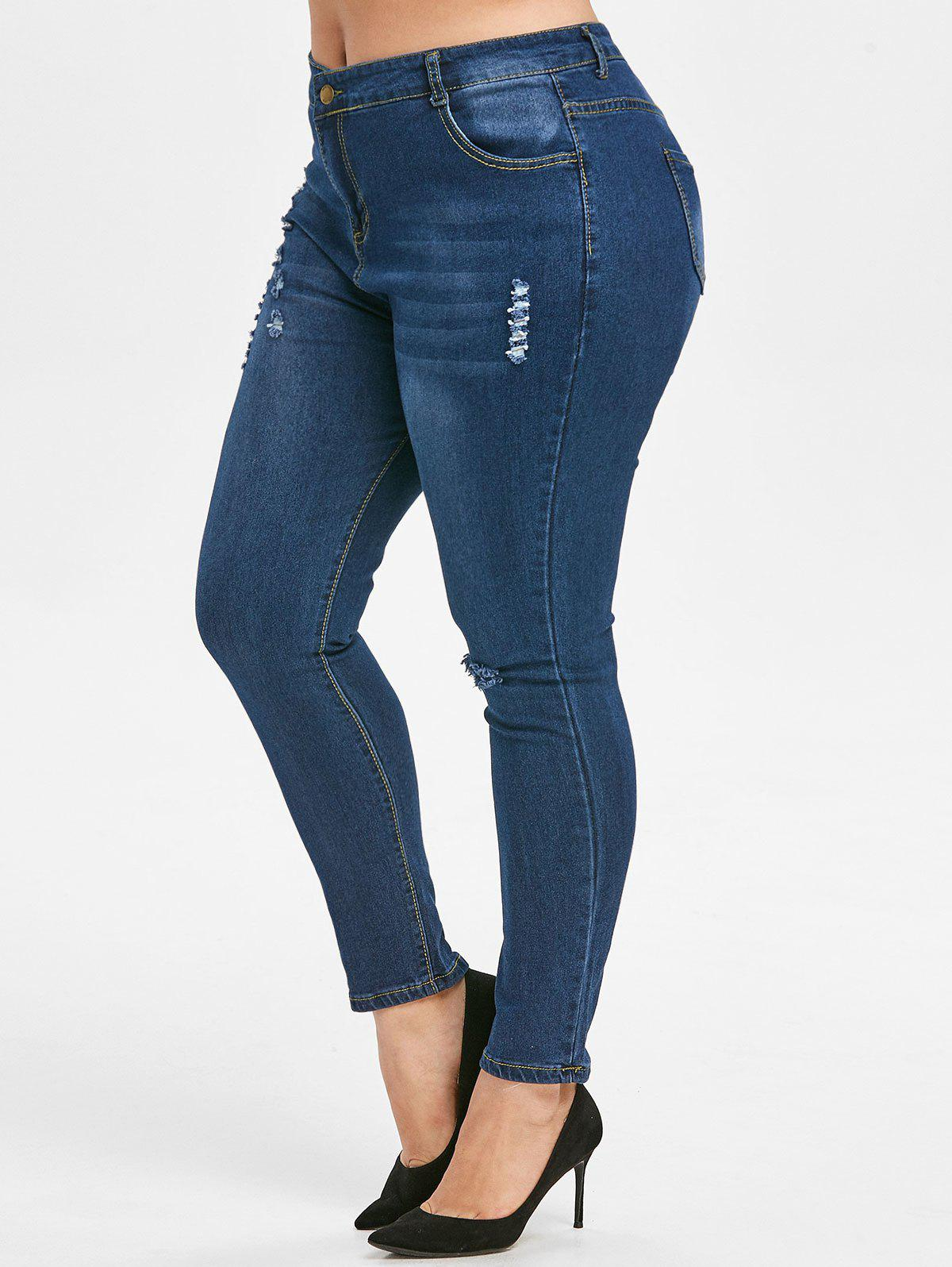 Affordable Plus Size Ripped Dark Wash Skinny Jeans