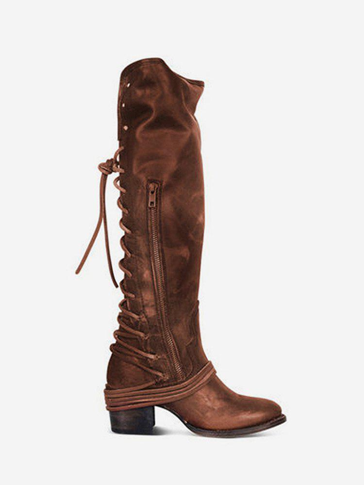 Buy Back Lace Up Mid Heel Leather Knee High Boots