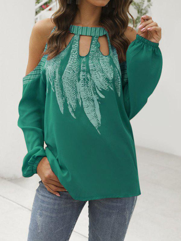 Best Feather Open Shoulder Keyhole Blouse