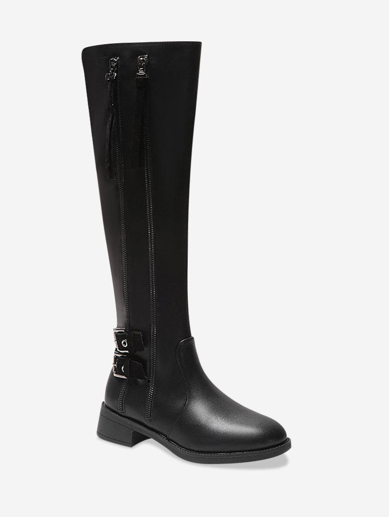 Buy Dual Zip Leather Knight Knee High Boots