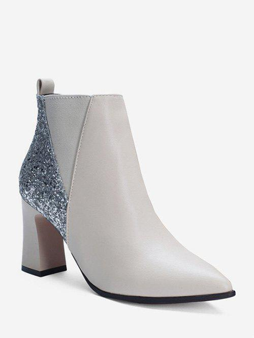 New Chunky Heel Sequined PU Leather Ankle Boots
