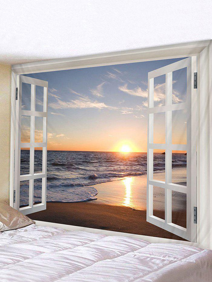 Affordable Window Sunset Sea Print Tapestry