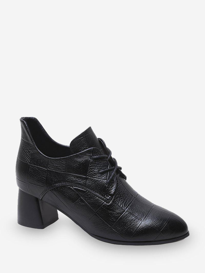 Latest Grid Pattern Lace-up Chunky Heel Ankle Boots
