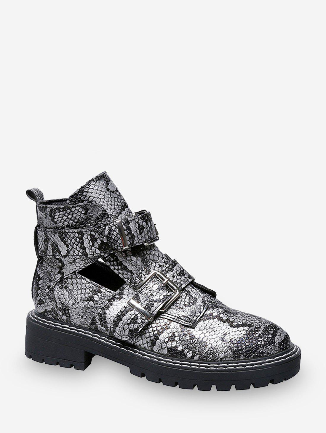 Online Snake Print Cut Out Leather Ankle Boots