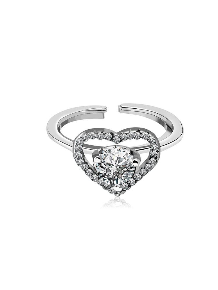 Hot Valentine Rhinestone Heart Shape Cuff Rings Set