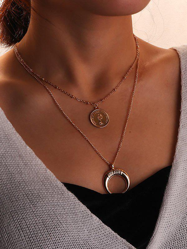 Chic Coin and Crescent Tiered Pendant Necklace