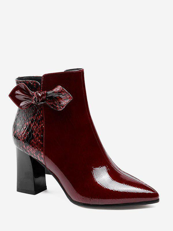 New Snake Pattern Bow Detail Patent Leather Ankle Boots