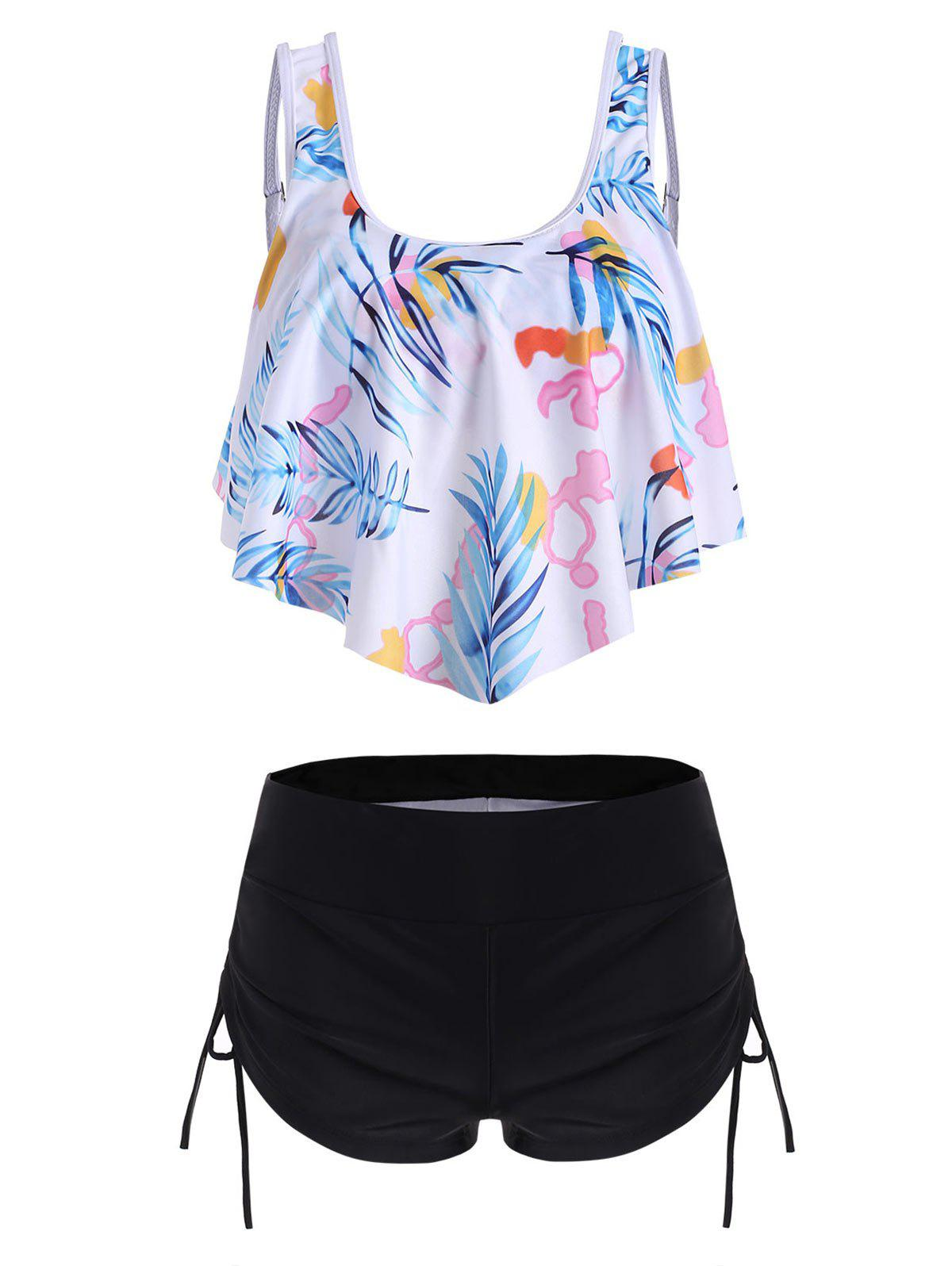 Overlay Flounces Leaves Print Cinched Tankini Swimsuit фото