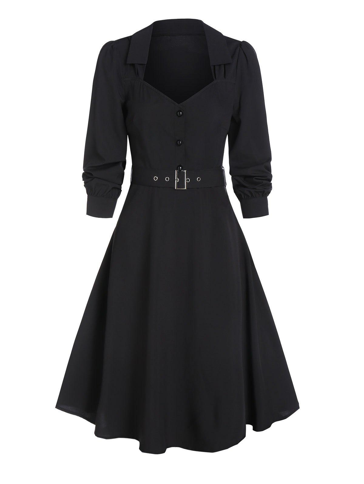Fancy Half Button Vintage Belted Flare Dress