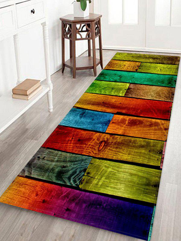 Outfit Colorful Wood Board Pattern Water Absorption Area Rug
