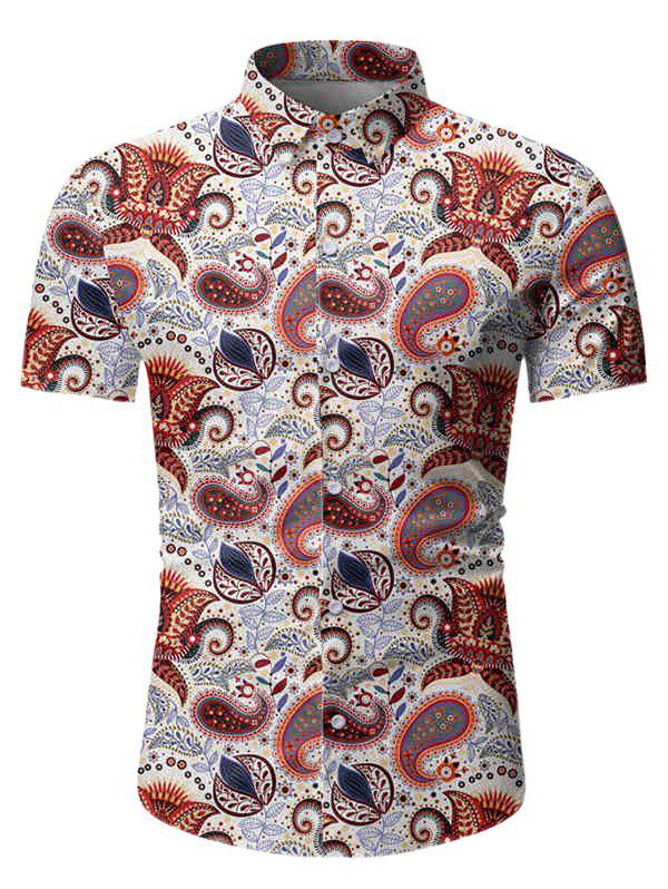Sale Paisley Leaf Pattern Short Sleeves Shirt