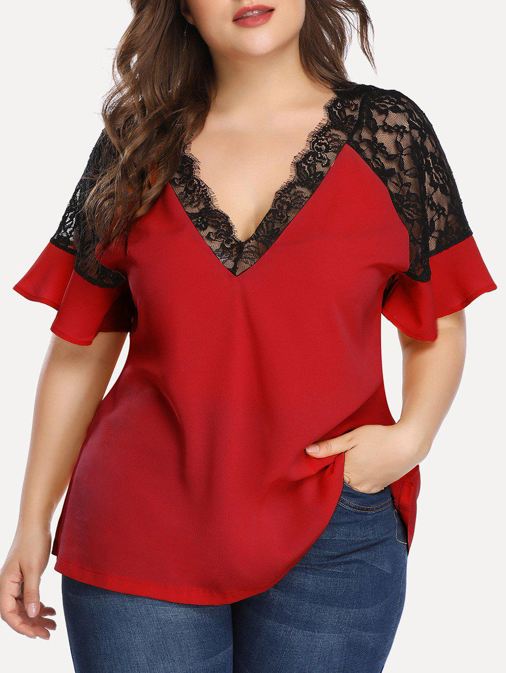 New Plus Size Lace Insert Plunging Neck Blouse