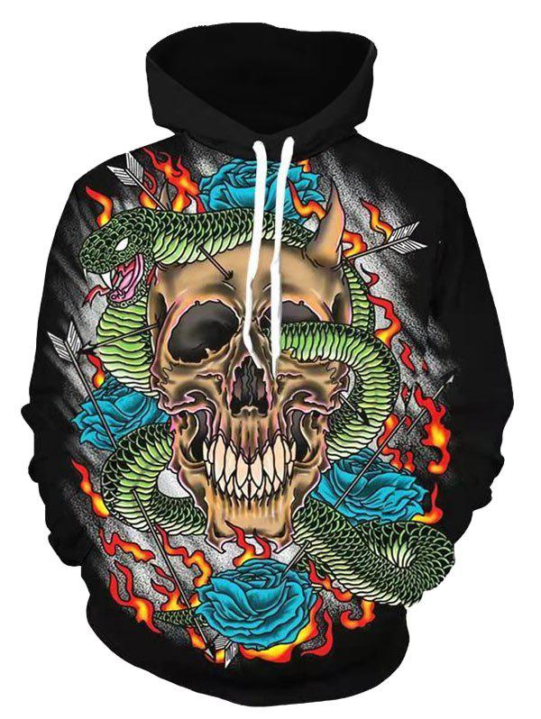 Cheap Skull Pattern Casual Hoodie